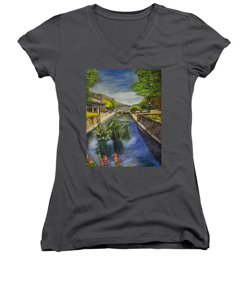 Carroll Creek Women's V-Neck T-Shirt (Junior Cut) by Ron Richard Baviello