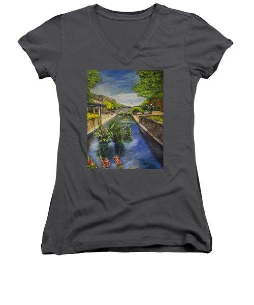 Women's V-Neck T-Shirt (Junior Cut) featuring the painting Carroll Creek by Ron Richard Baviello
