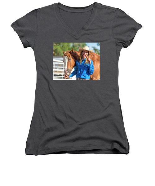 Carrots,cowgirls And Horses  Women's V-Neck (Athletic Fit)