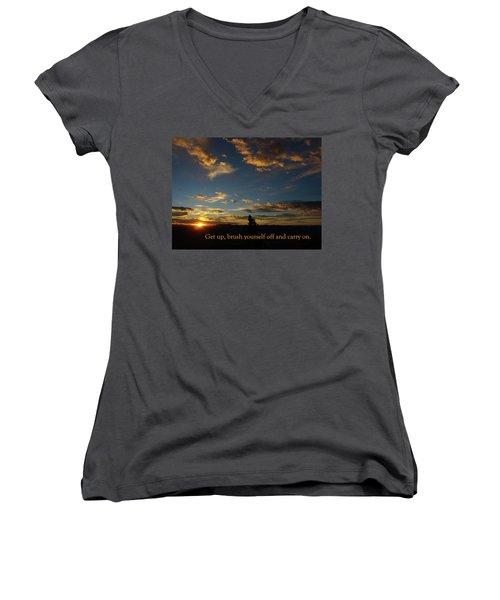 Carry On Sunrise Women's V-Neck T-Shirt (Junior Cut) by DeeLon Merritt