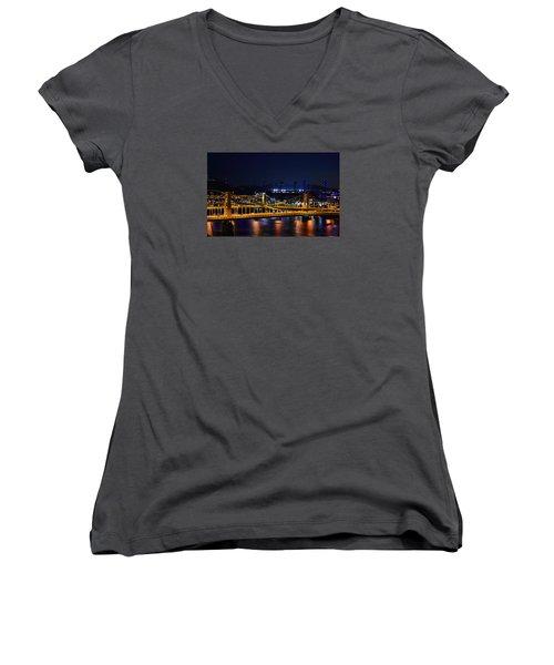 Carson Bridge At Night Women's V-Neck T-Shirt (Junior Cut) by William Bartholomew