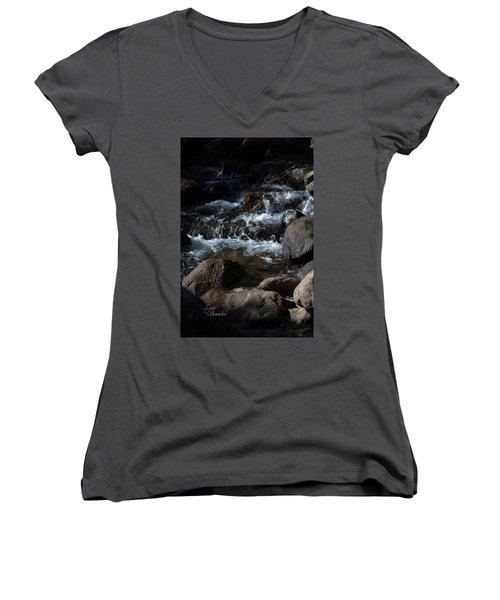 Carson River Women's V-Neck T-Shirt (Junior Cut) by Lynn Bawden