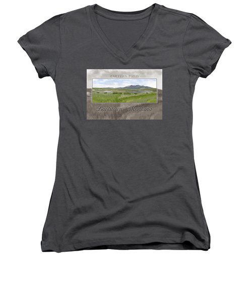 Women's V-Neck T-Shirt (Junior Cut) featuring the digital art Carter's Pond by Susan Kinney
