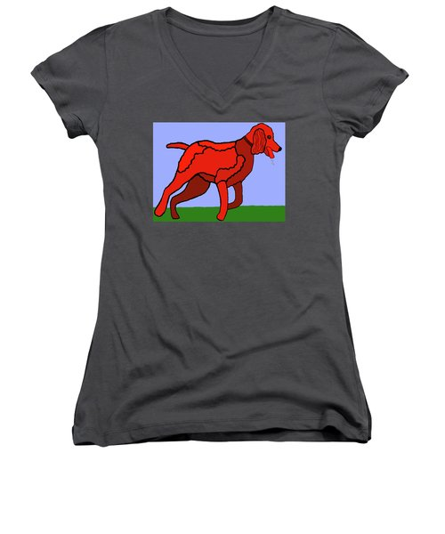 Women's V-Neck T-Shirt (Junior Cut) featuring the painting Cartoon Romping Miniature Apricot Poodle by Marian Cates