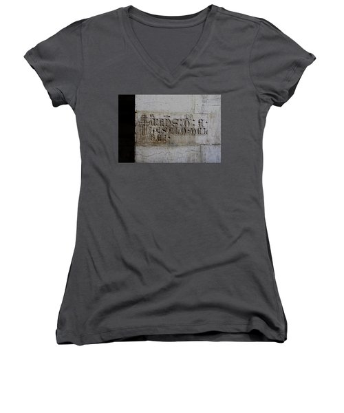 Women's V-Neck T-Shirt (Junior Cut) featuring the photograph Carved In Stone by Lorraine Devon Wilke
