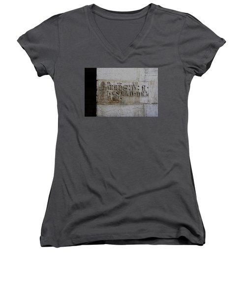 Carved In Stone Women's V-Neck T-Shirt (Junior Cut) by Lorraine Devon Wilke
