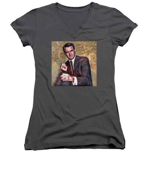 Cary Grant - Square Version Women's V-Neck T-Shirt (Junior Cut) by John Robert Beck