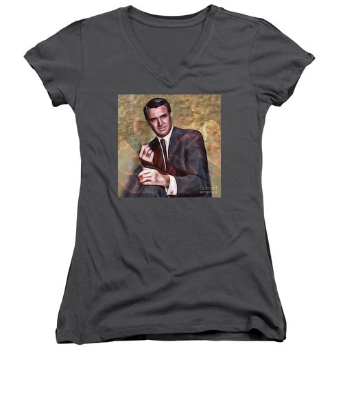 Cary Grant - Square Version Women's V-Neck T-Shirt (Junior Cut)