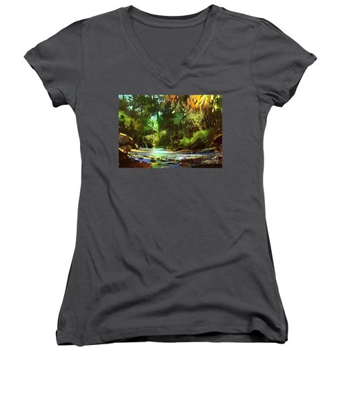 Cascades In Forest Women's V-Neck