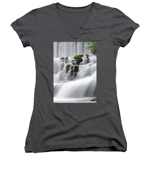 Cascading Mirror Lake Falls Women's V-Neck (Athletic Fit)