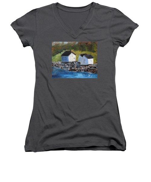 Casco Bay Boat Houses Women's V-Neck