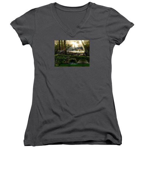 Women's V-Neck T-Shirt (Junior Cut) featuring the painting Casey Jones by Michael Cleere