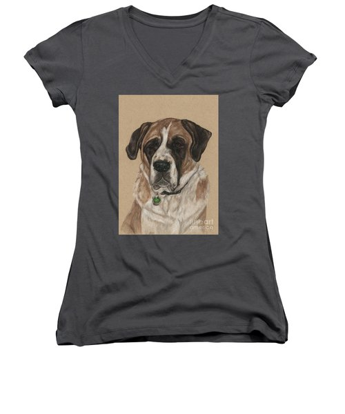 Women's V-Neck T-Shirt (Junior Cut) featuring the drawing Casey  by Meagan  Visser