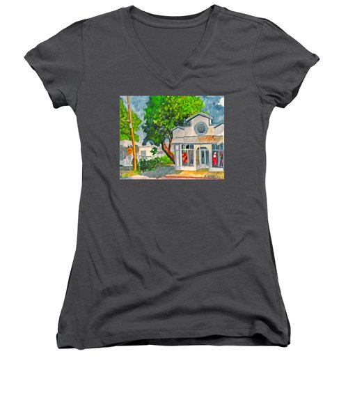 Women's V-Neck T-Shirt (Junior Cut) featuring the painting Caseys Place by Eric Samuelson