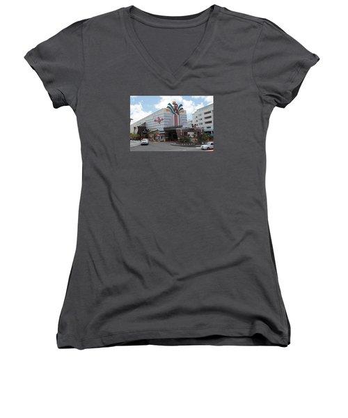 Casino Royale St. Maarten Women's V-Neck T-Shirt (Junior Cut) by Christopher Kirby