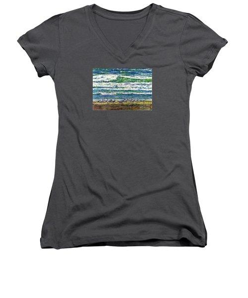 Caspian Terns By The Ocean Women's V-Neck T-Shirt