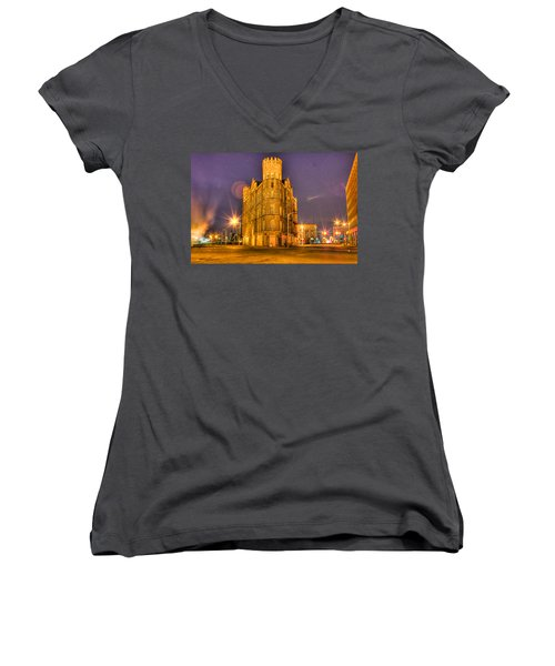 Cass Castle Detroit Mi Women's V-Neck (Athletic Fit)