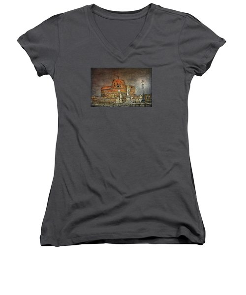 Women's V-Neck T-Shirt featuring the photograph Castel Sant Angelo Fine Art by Hanny Heim