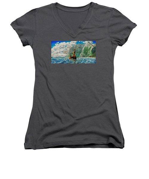 Casting Of The Net Women's V-Neck T-Shirt (Junior Cut) by Ruanna Sion Shadd a'Dann'l Yoder