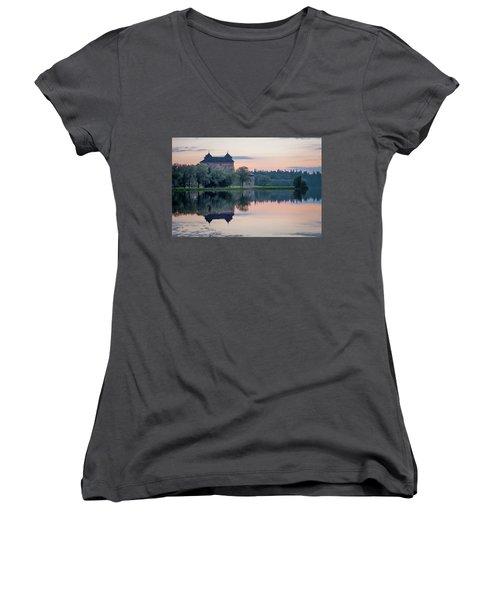Castle After The Sunset Women's V-Neck T-Shirt (Junior Cut) by Teemu Tretjakov