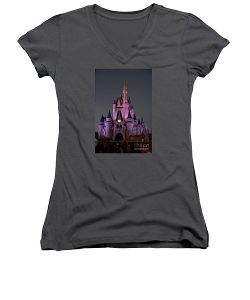 Women's V-Neck T-Shirt (Junior Cut) featuring the photograph Castle At Twilight by Carol  Bradley