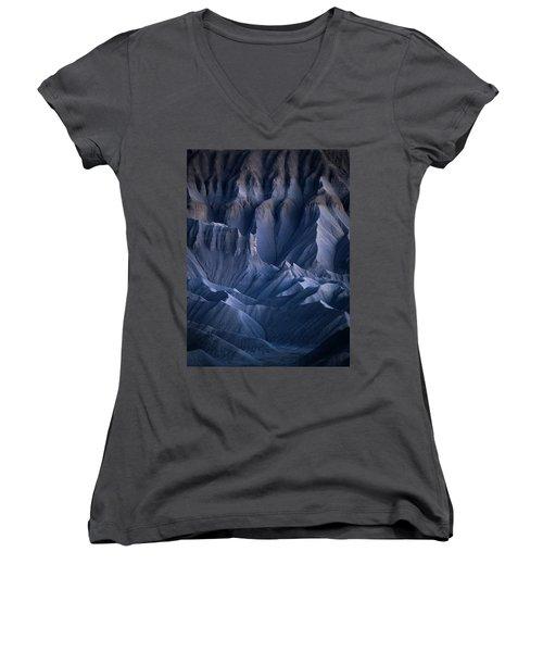 Women's V-Neck T-Shirt (Junior Cut) featuring the photograph Castle Blue by Dustin LeFevre