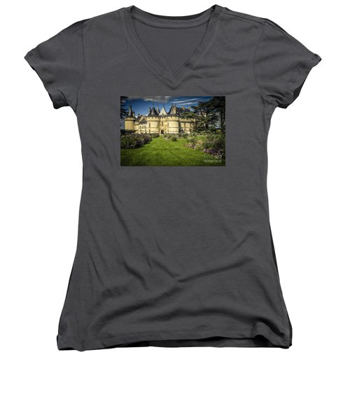 Women's V-Neck T-Shirt (Junior Cut) featuring the photograph Castle Chaumont With Garden by Heiko Koehrer-Wagner