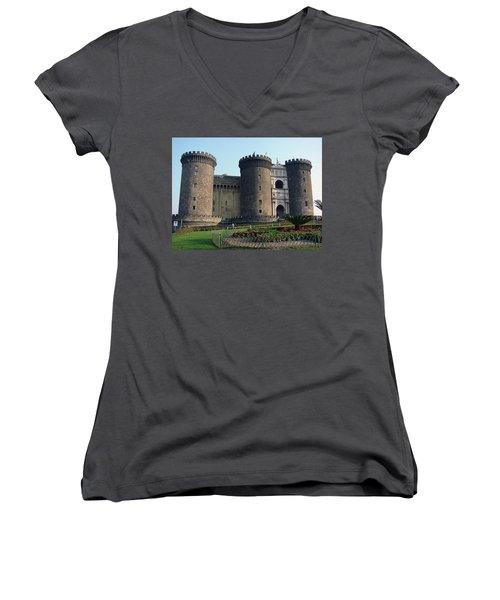 Castle Nuovo Naples Italy Women's V-Neck T-Shirt