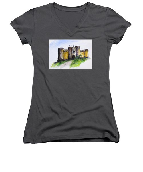 Castle Nuovo, Napoli Women's V-Neck T-Shirt (Junior Cut) by Clyde J Kell
