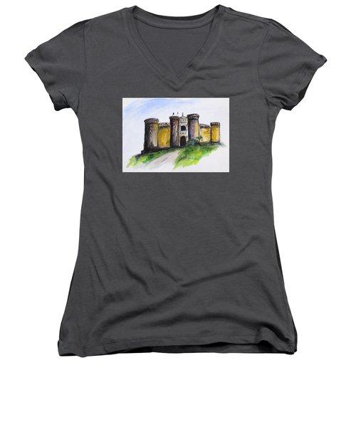 Castle Nuovo, Napoli Women's V-Neck T-Shirt (Junior Cut)