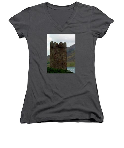 Castle Of The Pirate Queen Women's V-Neck T-Shirt (Junior Cut) by Patricia Griffin Brett