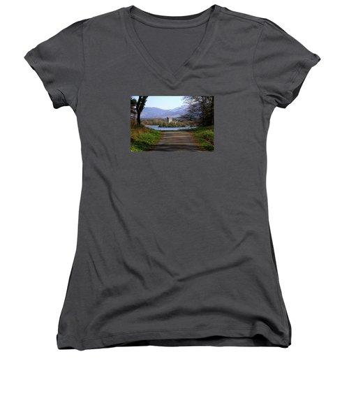 Castle On The Lakes Women's V-Neck T-Shirt (Junior Cut) by Aidan Moran