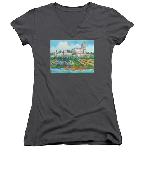 Women's V-Neck T-Shirt (Junior Cut) featuring the painting Castle On The Upper Rhine River by Diane McClary