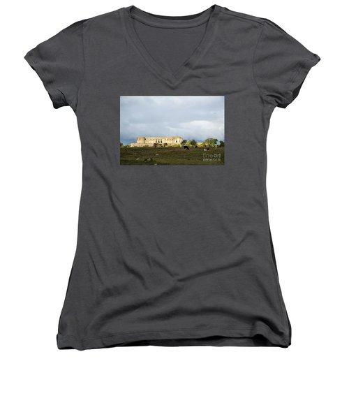 Women's V-Neck T-Shirt featuring the photograph Castle Ruin In Spotlight by Kennerth and Birgitta Kullman