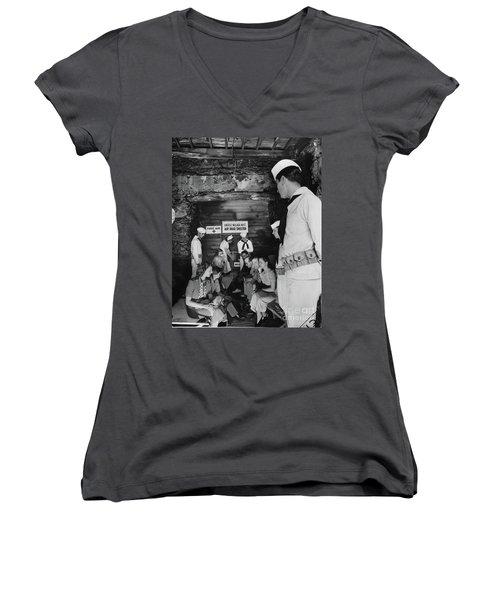 Castle Village Air Raid Shelter Women's V-Neck T-Shirt (Junior Cut) by Cole Thompson