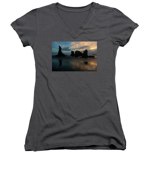 Women's V-Neck T-Shirt (Junior Cut) featuring the photograph Castles In The Sand by Mike Dawson
