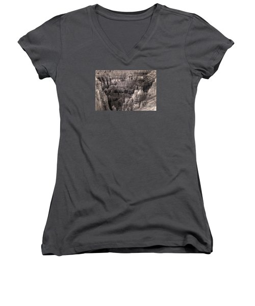 Women's V-Neck T-Shirt (Junior Cut) featuring the digital art Castles Made Of Sand In The Hoodoos  by William Fields