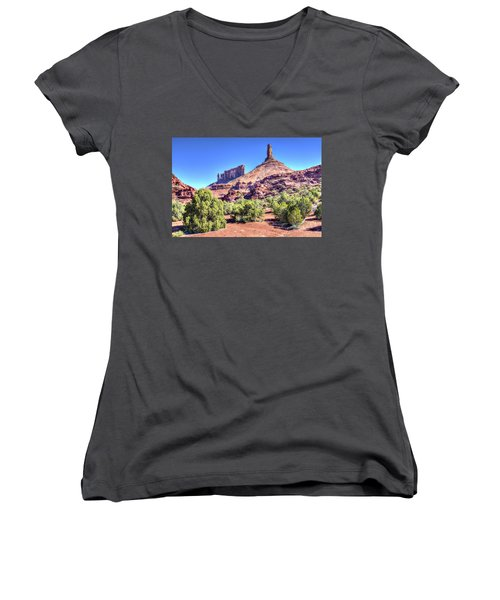 Castleton Tower Women's V-Neck T-Shirt (Junior Cut) by Alan Toepfer