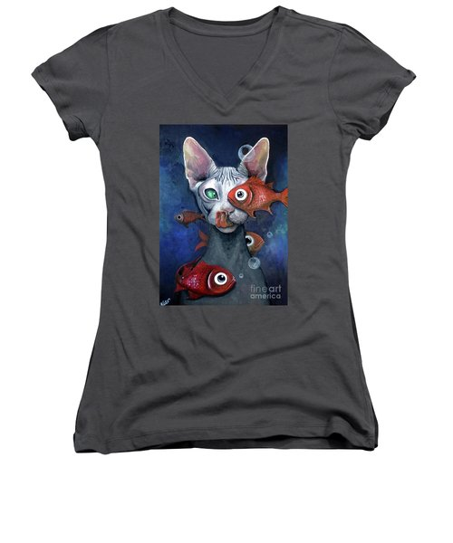 Cat And Fish Women's V-Neck (Athletic Fit)