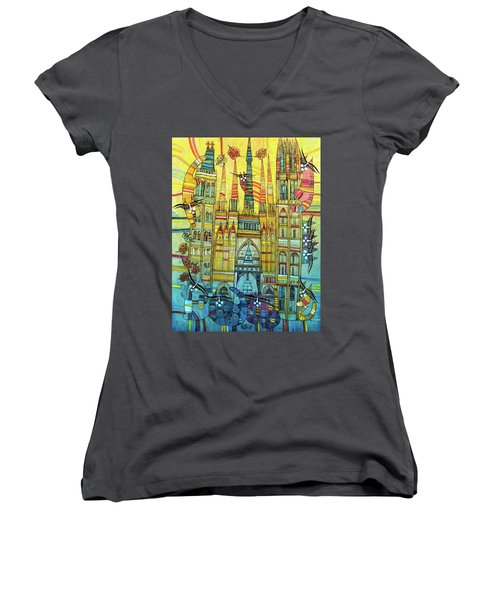 Cat-hedral Women's V-Neck T-Shirt (Junior Cut)