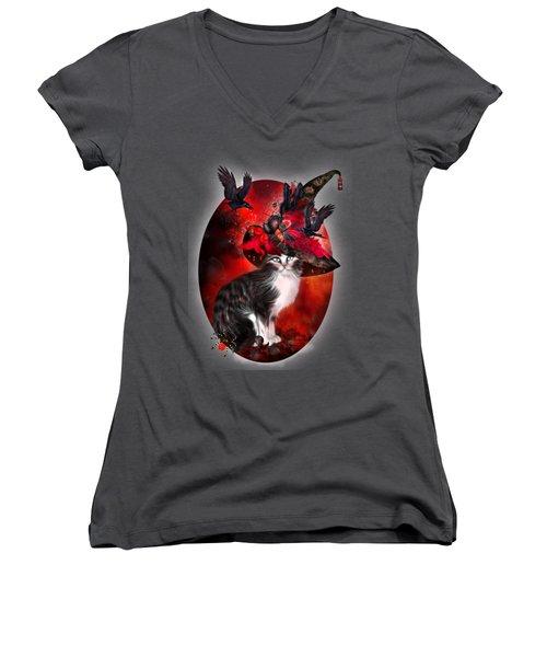 Cat In Fancy Witch Hat 1 Women's V-Neck