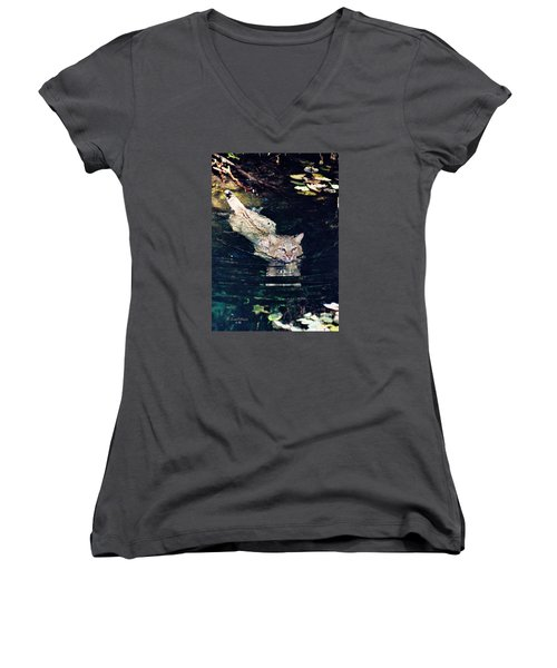 Cat In The Water Women's V-Neck T-Shirt (Junior Cut) by Ansel Price