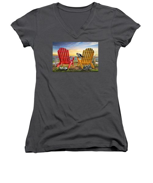 Women's V-Neck T-Shirt (Junior Cut) featuring the photograph Cat Nap At The Beach by Debra and Dave Vanderlaan