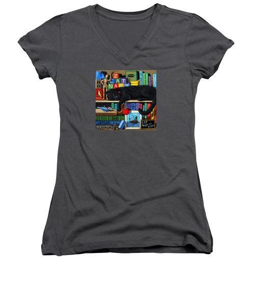 Women's V-Neck T-Shirt (Junior Cut) featuring the painting Cat Nap - Orginal Black Cat Painting by Linda Apple