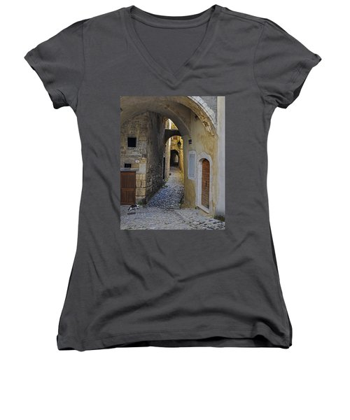 Women's V-Neck T-Shirt (Junior Cut) featuring the photograph Cat On A Quiet Street In Viviers by Allen Sheffield