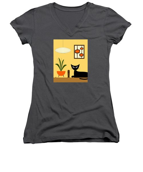 Cat On Tabletop With Mini Mod Pods 3 Women's V-Neck T-Shirt