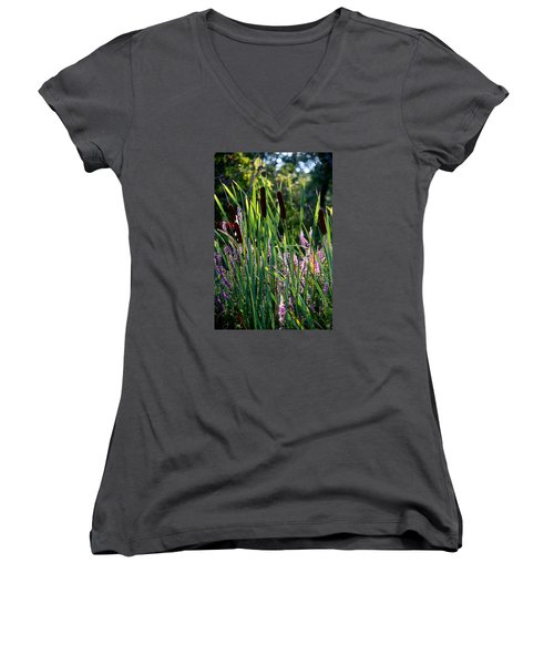Cat Tails In The Morning Women's V-Neck T-Shirt (Junior Cut)
