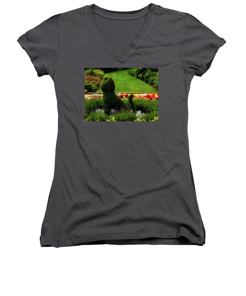 Cat Topiary Belfast Women's V-Neck (Athletic Fit)