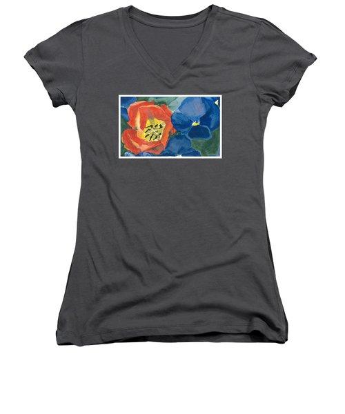 Cat Tulip Women's V-Neck T-Shirt (Junior Cut) by Joel Deutsch