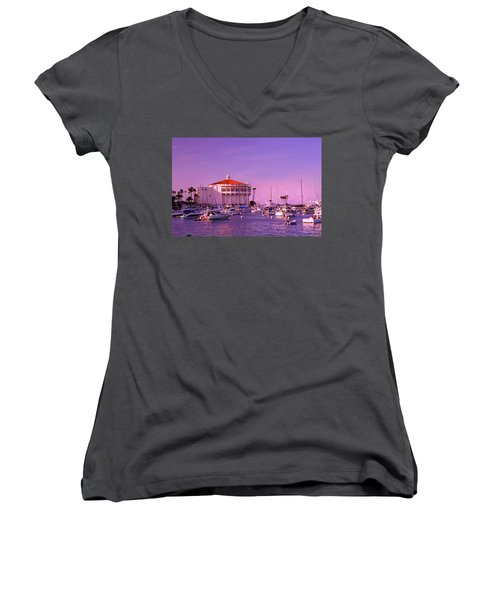 Catalina Casino Women's V-Neck T-Shirt (Junior Cut) by Marie Hicks